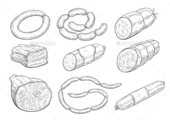 Vector Sketch Icons of Butchery Meat Products - Food Objects