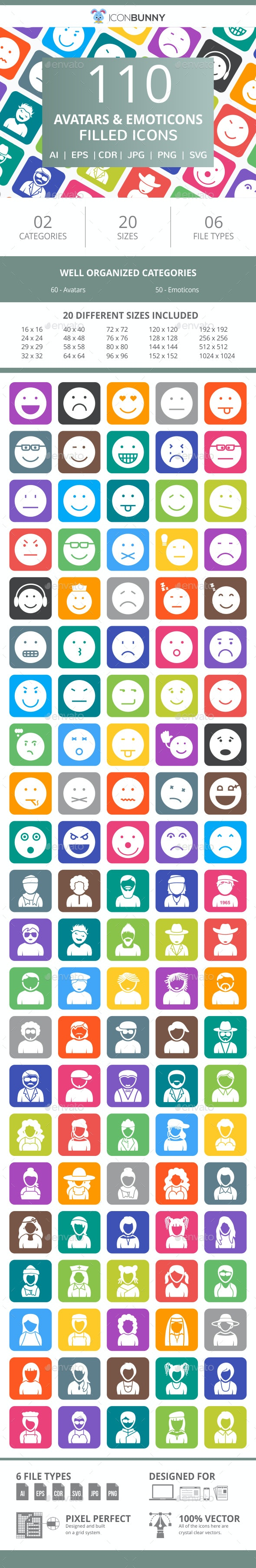 110 Avatars & Emoticons Filled Round Corner Icons - Icons