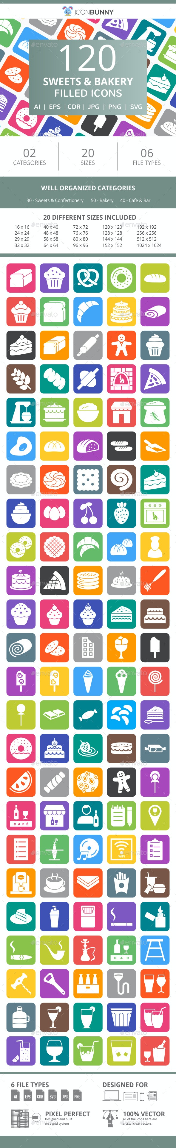 120 Sweets & Bakery Filled Round Corner Icons - Icons