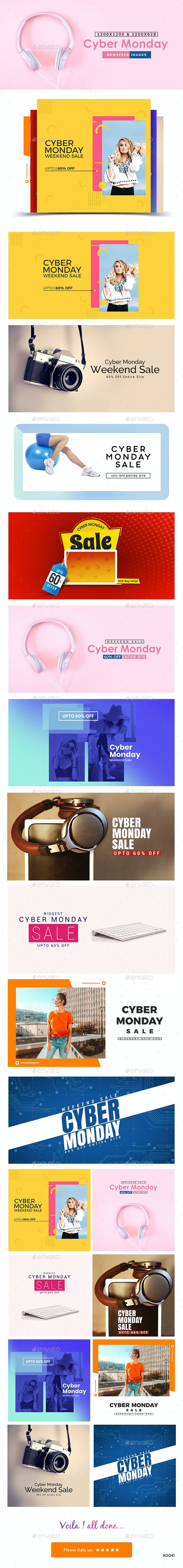 Cyber Monday Sale Facebook and Instagram Newsfeed Banners - 10 Designs - Miscellaneous Social Media