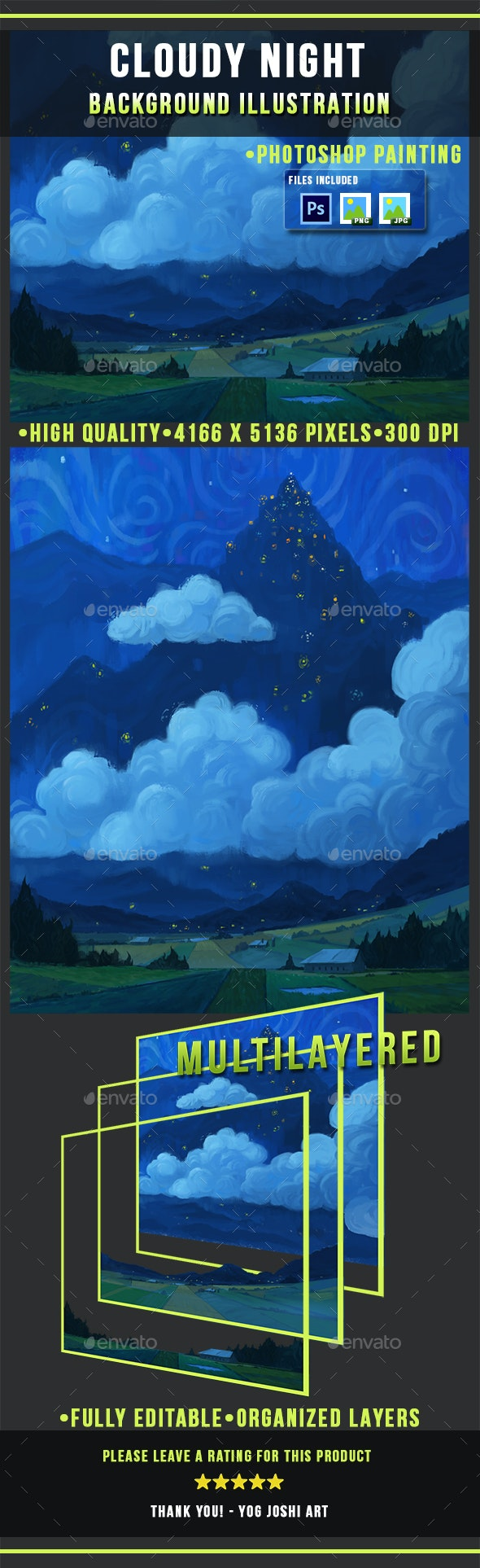 Cloudy Night - Painting - Photoshop - Scenes Illustrations