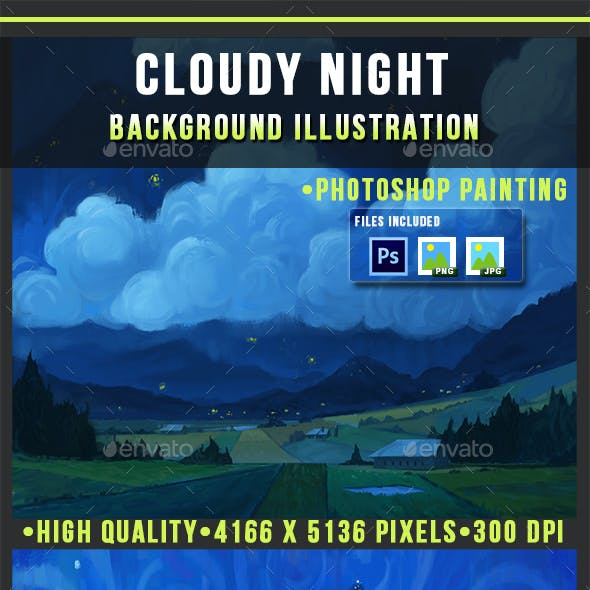 Cloudy Night - Painting - Photoshop