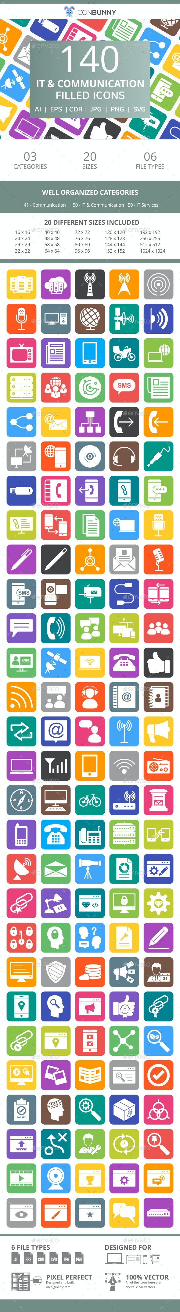 141 IT & Communication Filled Round Corner Icons - Icons