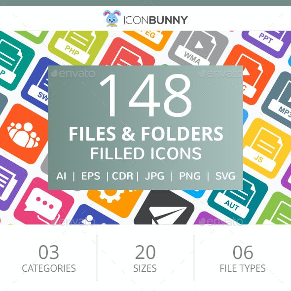 148 Files & Folders Filled Round Corner Icons