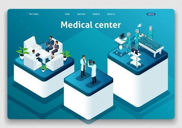Template Website Isometric Landing Page Concept - Computers Technology