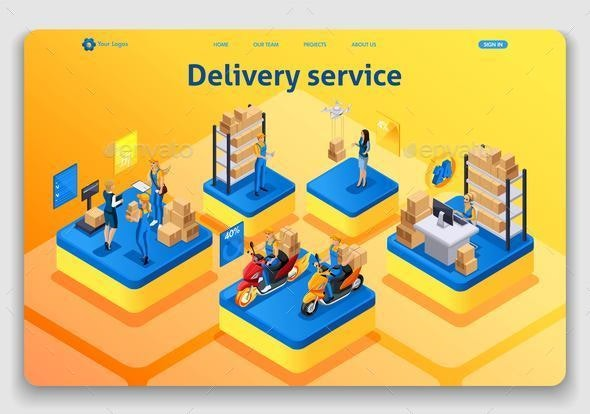 Template Website Isometric Landing Page Concept - Food Objects
