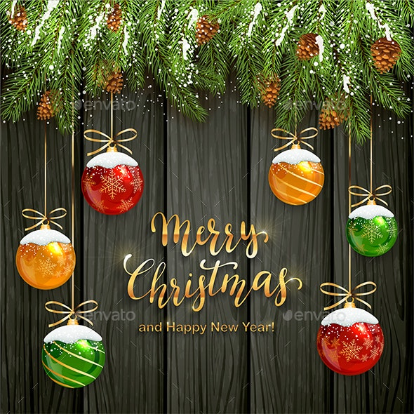 Christmas Lettering on Black Wooden Background with Balls and Snow - Christmas Seasons/Holidays
