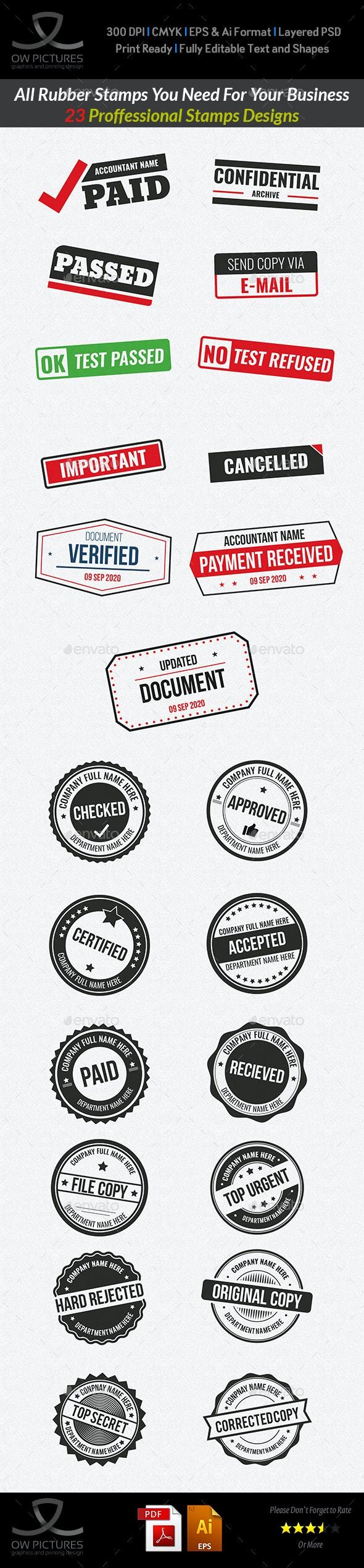 23 Customizable Rubber Stamps Vol.3 - Decorative Symbols Decorative