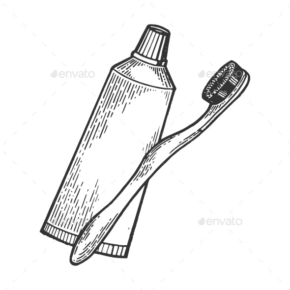 Toothbrush and Toothpaste Engraving Style Vector - Miscellaneous Vectors