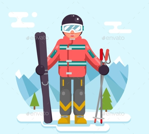 Skier Mountain Winter Mountains Vacation Skiing - Sports/Activity Conceptual