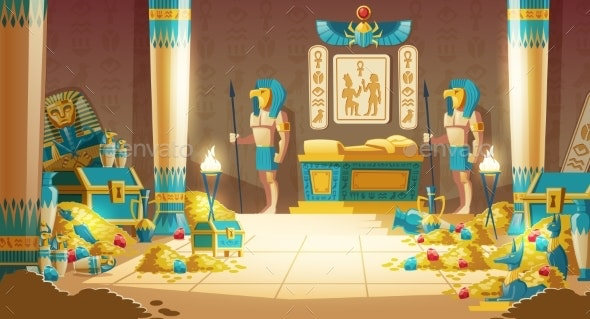 Pharaoh Tomb Full of Treasures Cartoon Vector - Backgrounds Decorative