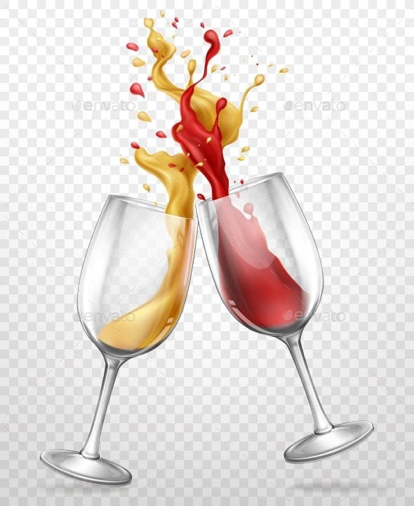 Glass Goblets with Splashing Wine Realistic Vector - Food Objects