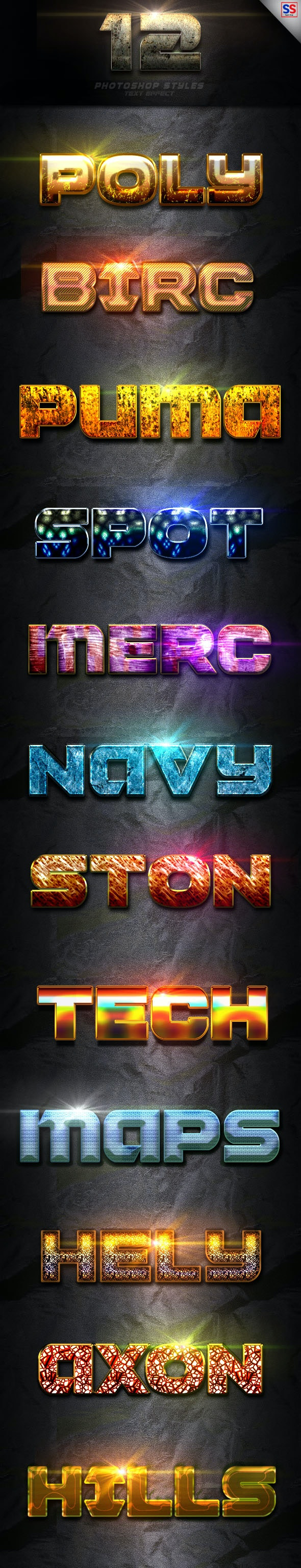 12 Photoshop text Effect Vol 2 - Text Effects Styles