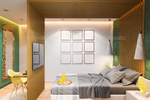 3D Illustration of a Master Bedroom in a Private - Architecture 3D Renders