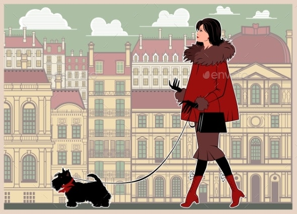 Girl with a Small Dog on a Walk in the Background - Miscellaneous Characters