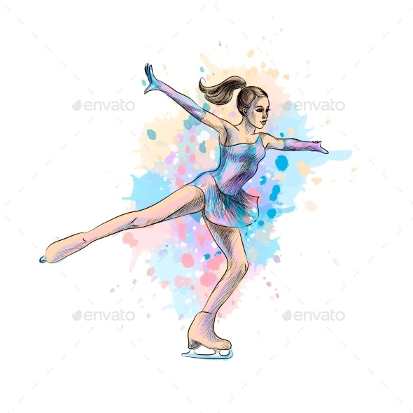 Abstract Winter Sport Figure Skating Girl From - Sports/Activity Conceptual