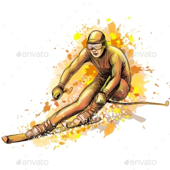 Abstract Biathlete From a Splash of Watercolor