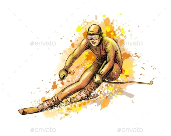 Abstract Biathlete From a Splash of Watercolor - Sports/Activity Conceptual