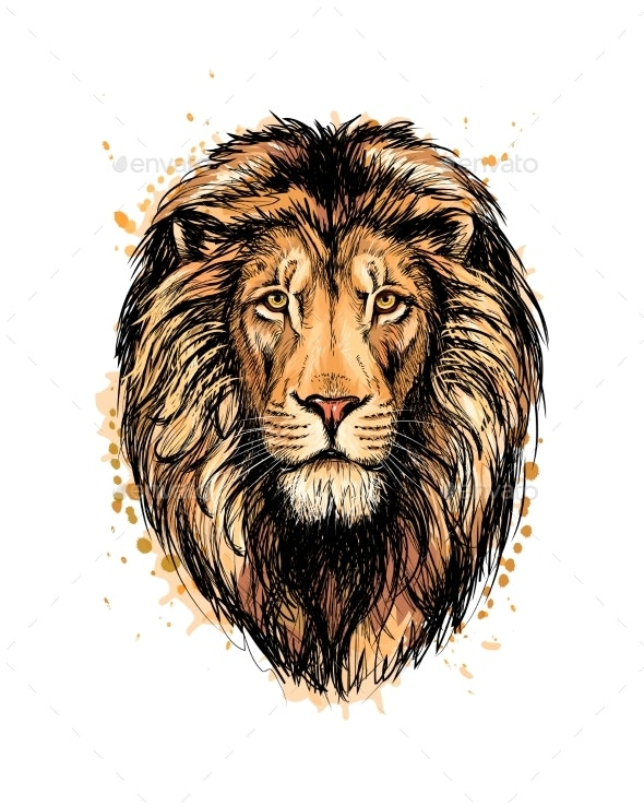 Portrait of a Lion Head From a Splash - Animals Characters