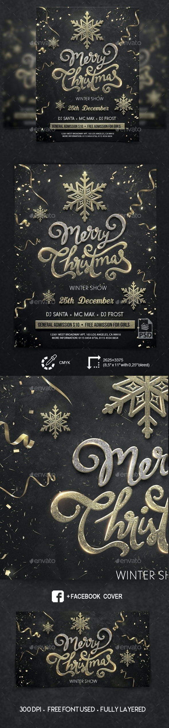 Merry Christmas - PSD Flyer Template - Events Flyers
