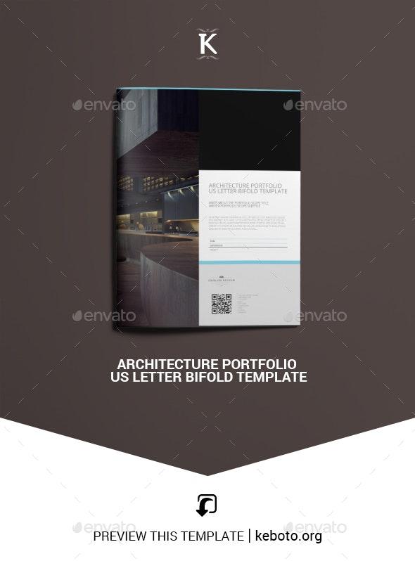 Architecture Portfolio US Letter Bifold Template - Portfolio Brochures