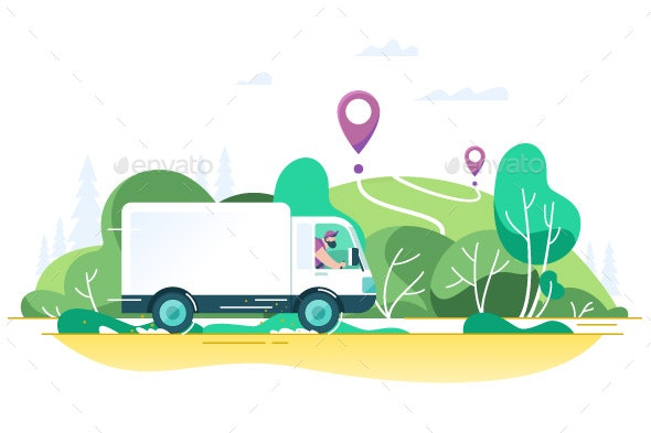 Flat Delivery Truck with Man is Carrying Parcels - Man-made Objects Objects