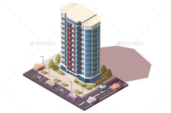 Office Building with Parking and Cars - Buildings Objects