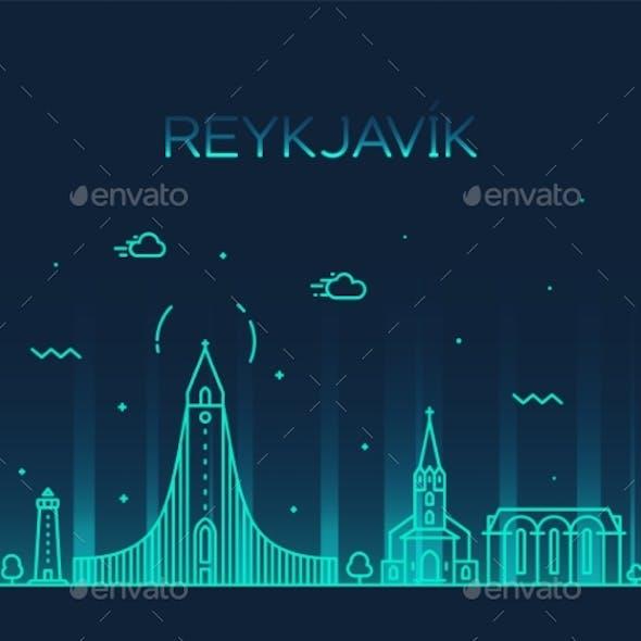 Reykjavik City Skyline Iceland Vector Linear Style