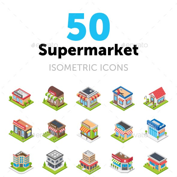 50 Supermarket Shops Isometric Icons