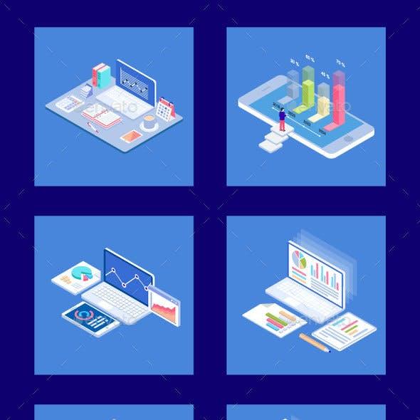 25 Isometric Business Analytics Icon