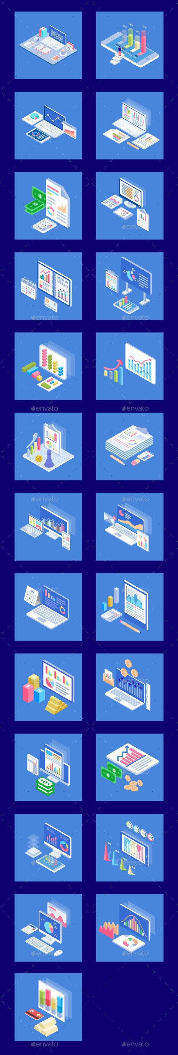 25 Isometric Business Analytics Icon - Icons