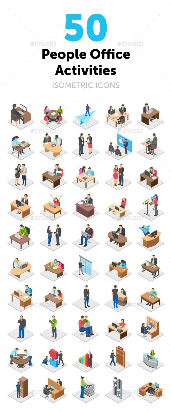 50 Office Activities Vector Icons - Icons