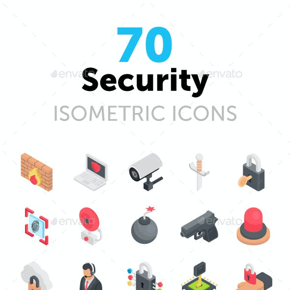 70 Security Isometric Icons