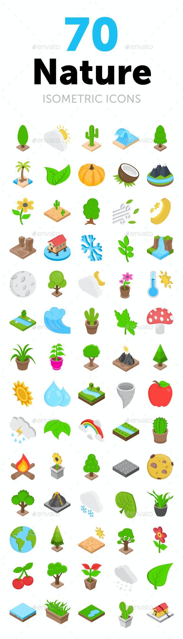 70 Nature Isometric Icons - Icons