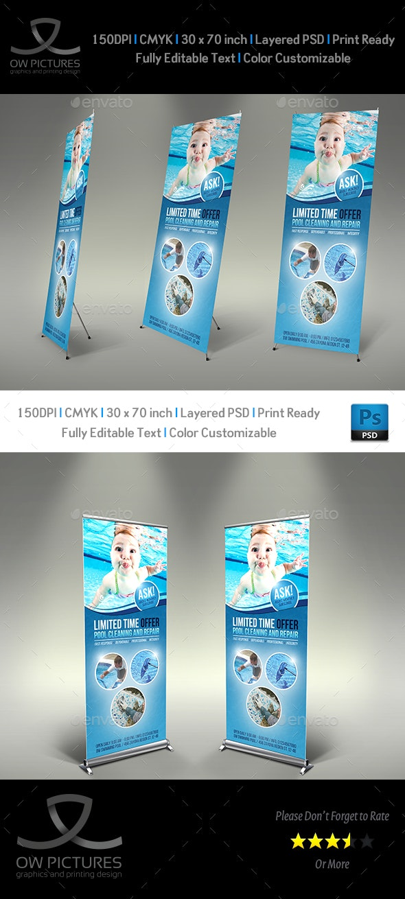 Swimming Pool Cleaning Service Signage Banner Roll Up Template Vol.2 - Signage Print Templates