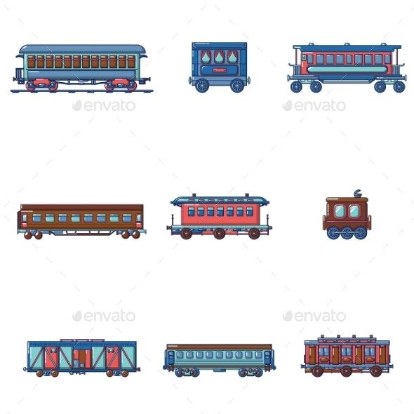 Subway Train Metro Icons Set Cartoon Style - Miscellaneous Vectors