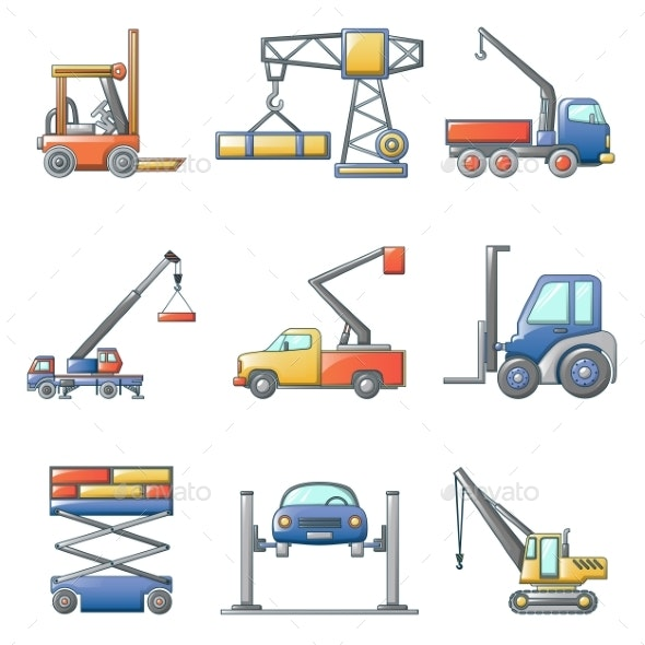 Lifting Machine Icons Set Cartoon Style - Industries Business