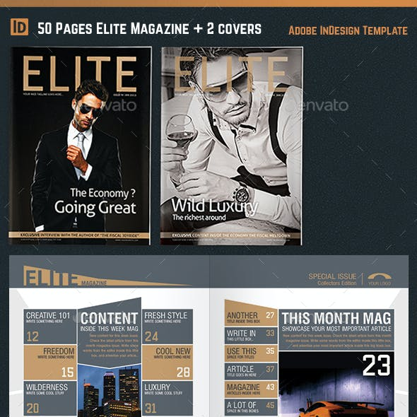 Elite Magazine Template InDesign 50 Pages + 2 Covers