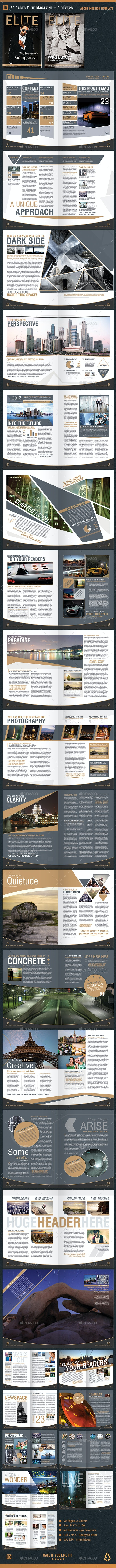 Elite Magazine Template InDesign 50 Pages + 2 Covers - Magazines Print Templates