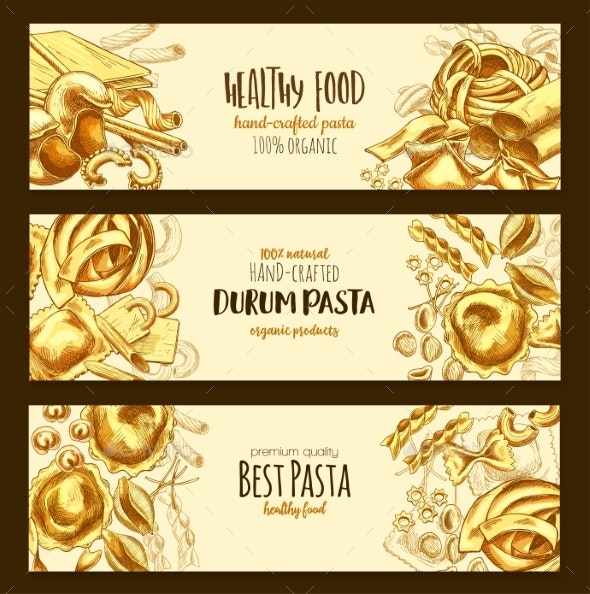 Italian Durum Pasta Cuisine Vector Banners - Food Objects