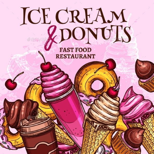 Fast Food Ice Cream and Donuts Vector Poster - Food Objects