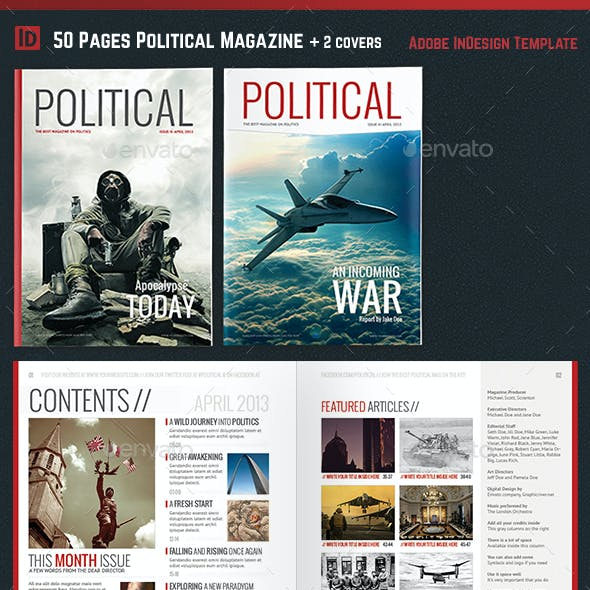 Political Magazine Template InDesign 50 Pages 2 Covers Infographics