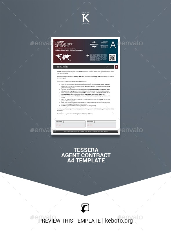 Tessera Agent Contract A4 Template - Miscellaneous Print Templates