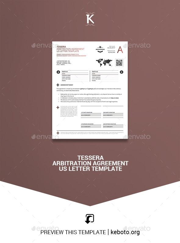 Tessera Arbitration Agreement US Letter Template - Miscellaneous Print Templates