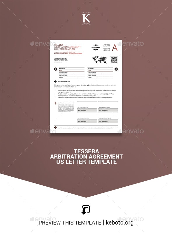 Tessera Arbitration Agreement US Letter Template