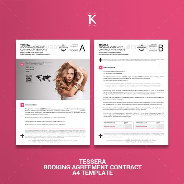 Tessera Booking Agreement Contract A4 Template