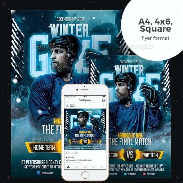Winter Game Hockey Flyer