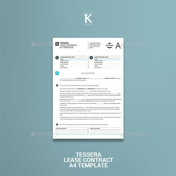 Tessera Lease Contract A4 Template