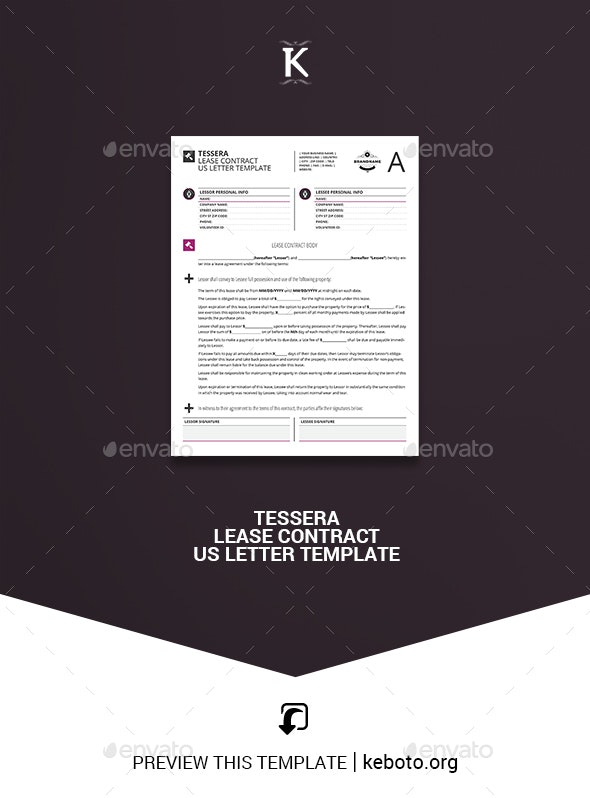 Tessera Lease Contract US Letter Template - Miscellaneous Print Templates