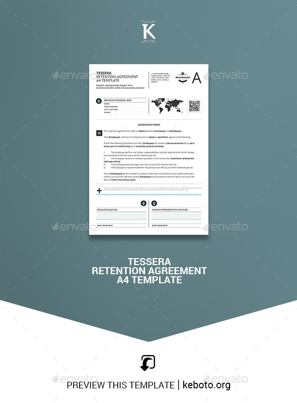 Tessera Retention Agreement A4 Template - Miscellaneous Print Templates